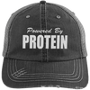 Powered by Protein Trucker Cap Apparel CustomCat 6990 Distressed Unstructured Trucker Cap Black/Grey One Size