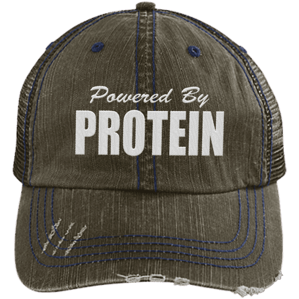 Powered by Protein Trucker Cap Apparel CustomCat 6990 Distressed Unstructured Trucker Cap Brown/Navy One Size