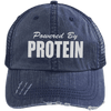 Powered by Protein Trucker Cap Apparel CustomCat 6990 Distressed Unstructured Trucker Cap Navy/Navy One Size
