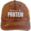 Powered by Protein Trucker Cap Apparel CustomCat 6990 Distressed Unstructured Trucker Cap Orange/Navy One Size