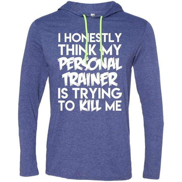 PT trying to kill me T-Shirts CustomCat Heather Blue/Neon Yellow Small