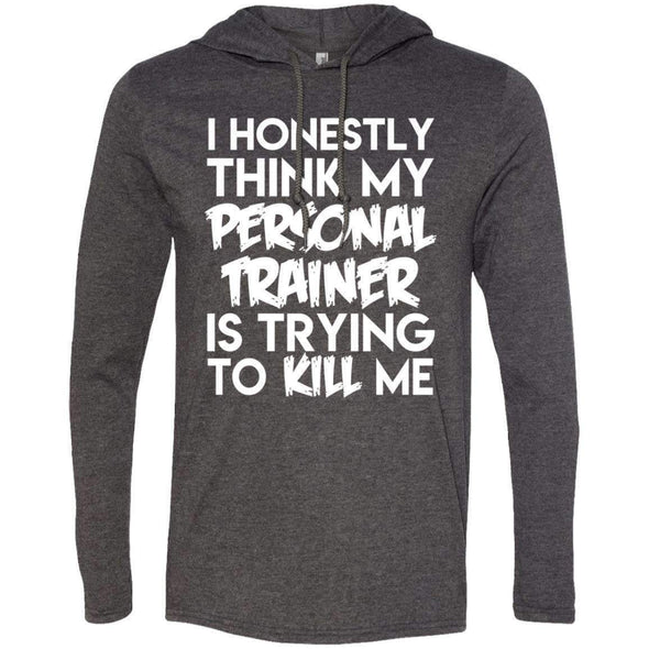 PT trying to kill me T-Shirts CustomCat Heather Dark Grey/Dark Grey Small