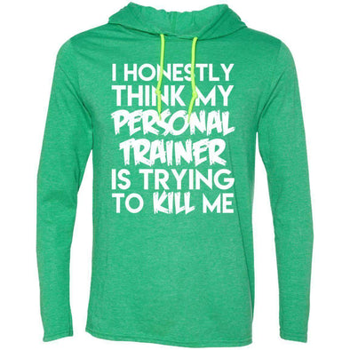 PT trying to kill me T-Shirts CustomCat Heather Green/Neon Yellow Small