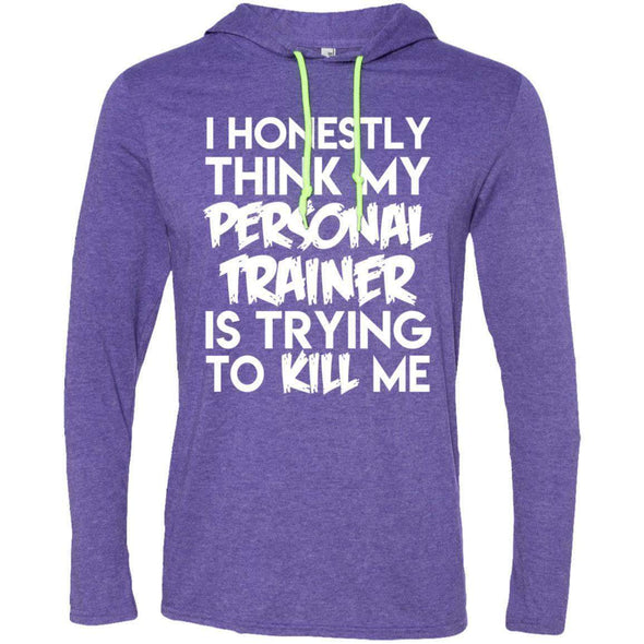 PT trying to kill me T-Shirts CustomCat Heather Purple/Neon Yellow Small