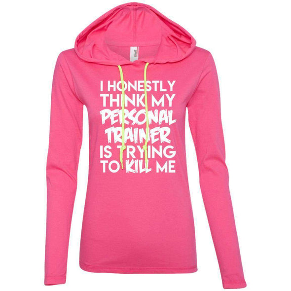 PT trying to kill me T-Shirts CustomCat Hot Pink/Neon Yellow Small