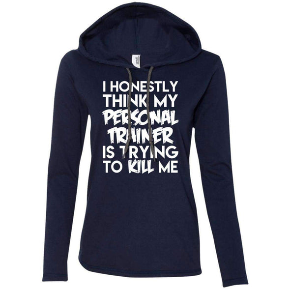 PT trying to kill me T-Shirts CustomCat Navy/Dark Grey Small