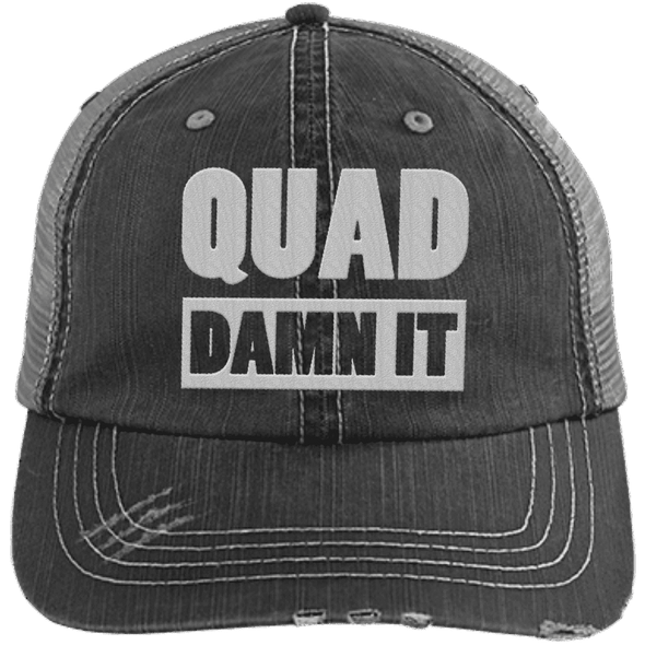 Quad Damn It Distressed Trucker Cap Apparel CustomCat 6990 Distressed Unstructured Trucker Cap Black/Grey One Size