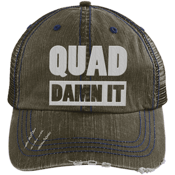 Quad Damn It Distressed Trucker Cap Apparel CustomCat 6990 Distressed Unstructured Trucker Cap Brown/Navy One Size