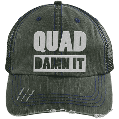 Quad Damn It Distressed Trucker Cap Apparel CustomCat 6990 Distressed Unstructured Trucker Cap Dark Green/Navy One Size