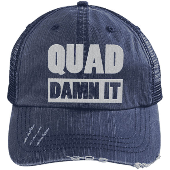 Quad Damn It Distressed Trucker Cap Apparel CustomCat 6990 Distressed Unstructured Trucker Cap Navy/Navy One Size