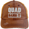 Quad Damn It Distressed Trucker Cap Apparel CustomCat 6990 Distressed Unstructured Trucker Cap Orange/Navy One Size