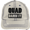 Quad Damn It Distressed Trucker Cap Apparel CustomCat 6990 Distressed Unstructured Trucker Cap Putty/Navy One Size
