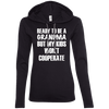 Ready to be a Grandma Hoodies Apparel CustomCat 887L Anvil Ladies' LS T-Shirt Hoodie Black/Dark Grey Small
