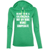 Ready to be a Grandma Hoodies Apparel CustomCat 887L Anvil Ladies' LS T-Shirt Hoodie Heather Green/Neon Yellow Small