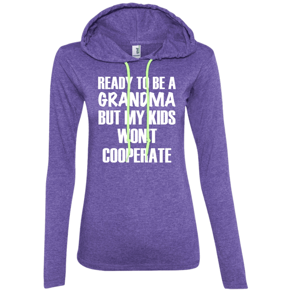 Ready to be a Grandma Hoodies Apparel CustomCat 887L Anvil Ladies' LS T-Shirt Hoodie Heather Purple/Neon Yellow Small
