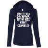 Ready to be a Grandma Hoodies Apparel CustomCat 887L Anvil Ladies' LS T-Shirt Hoodie Navy/Dark Grey Small