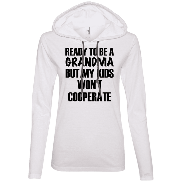 Ready to be a Grandma Hoodies Apparel CustomCat 887L Anvil Ladies' LS T-Shirt Hoodie White/Dark Grey Small