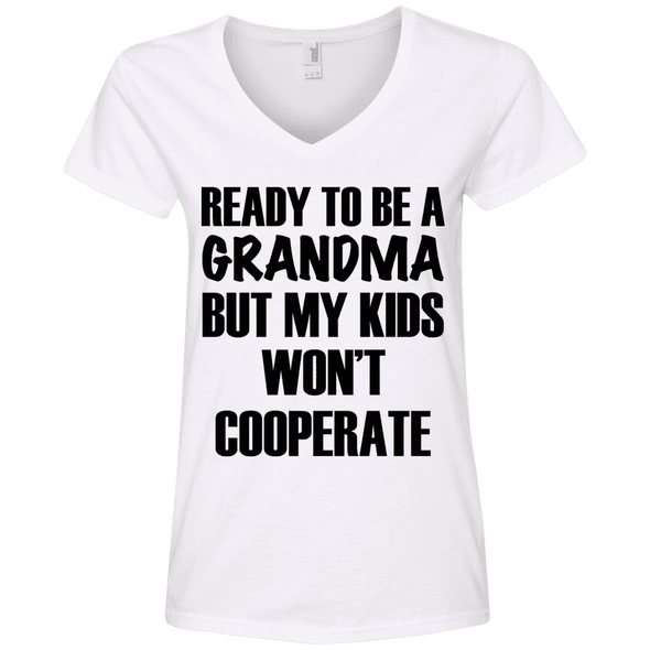 Ready to be a Grandma Tees Apparel CustomCat 88VL Anvil Ladies' V-Neck T-Shirt White Small
