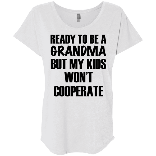 Ready to be a Grandma Tees Apparel CustomCat NL6760 Next Level Ladies' Triblend Dolman Sleeve Heather White X-Small