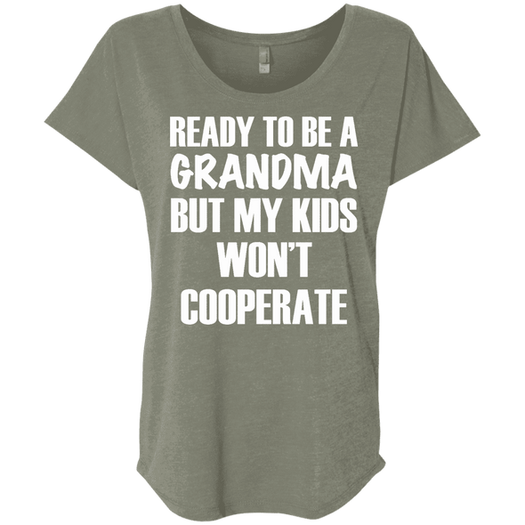 Ready to be a Grandma Tees Apparel CustomCat NL6760 Next Level Ladies' Triblend Dolman Sleeve Venetian Grey X-Small