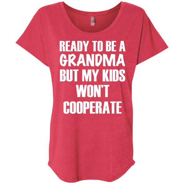 Ready to be a Grandma Tees Apparel CustomCat NL6760 Next Level Ladies' Triblend Dolman Sleeve Vintage Red X-Small