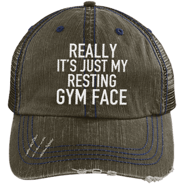 Really It's Just My Resting Gym Face Trucker Cap Apparel CustomCat 6990 Distressed Unstructured Trucker Cap Brown/Navy One Size