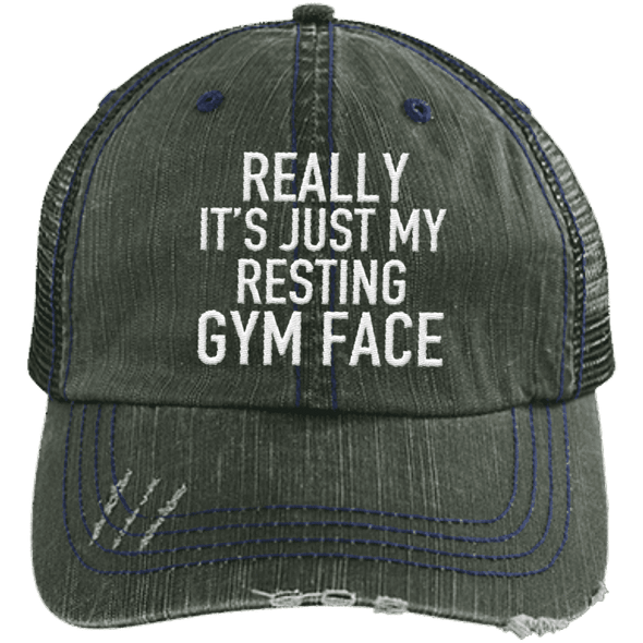 Really It's Just My Resting Gym Face Trucker Cap Apparel CustomCat 6990 Distressed Unstructured Trucker Cap Dark Green/Navy One Size