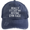 Really It's Just My Resting Gym Face Trucker Cap Apparel CustomCat 6990 Distressed Unstructured Trucker Cap Navy/Navy One Size