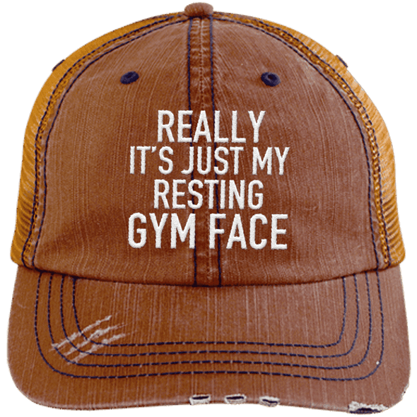 Really It's Just My Resting Gym Face Trucker Cap Apparel CustomCat 6990 Distressed Unstructured Trucker Cap Orange/Navy One Size
