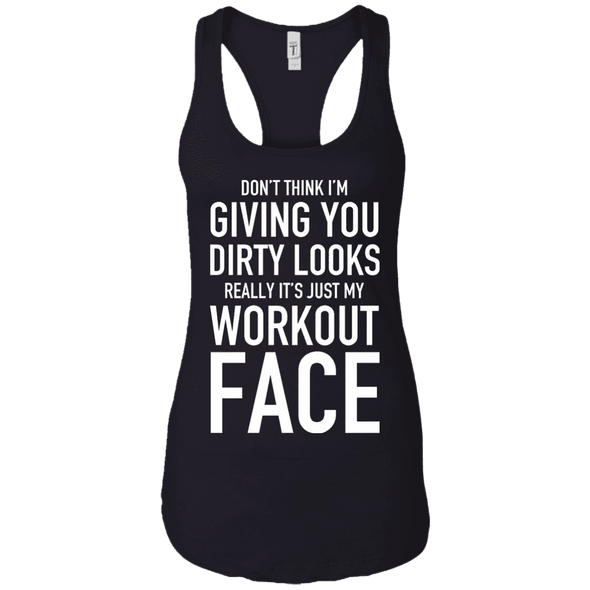 Really It's Just My Workout Face Apparel CustomCat NL1533 Next Level Ladies Ideal Racerback Tank Black X-Small