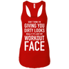 Really It's Just My Workout Face Apparel CustomCat NL1533 Next Level Ladies Ideal Racerback Tank Red X-Small
