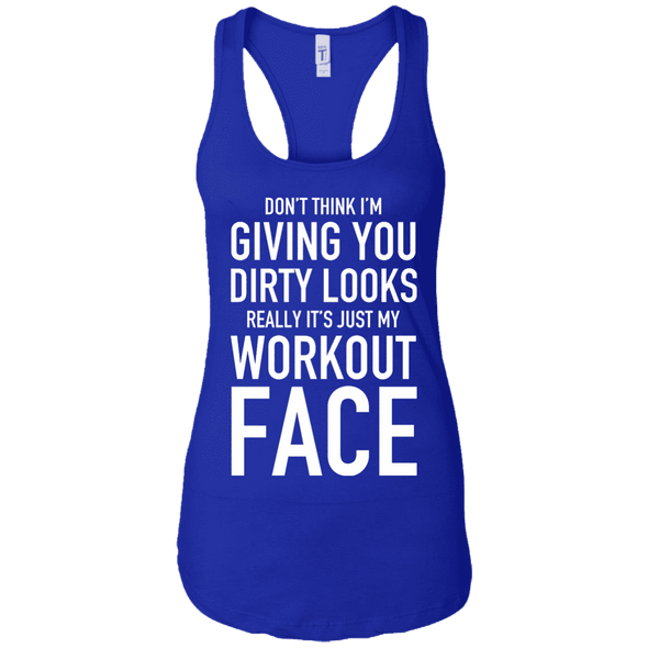 Really It's Just My Workout Face Apparel CustomCat NL1533 Next Level Ladies Ideal Racerback Tank Royal X-Small