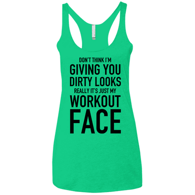 Really It's Just My Workout Face Apparel CustomCat NL6733 Next Level Ladies' Triblend Racerback Tank Envy X-Small