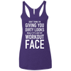 Really It's Just My Workout Face Apparel CustomCat NL6733 Next Level Ladies' Triblend Racerback Tank Purple X-Small