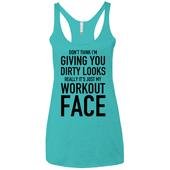 Really It's Just My Workout Face Apparel CustomCat NL6733 Next Level Ladies' Triblend Racerback Tank Tahiti Blue X-Small