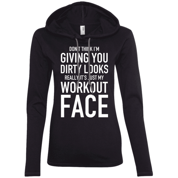 Really It's Just My Workout Face Hoodies Apparel CustomCat 887L Anvil Ladies' LS T-Shirt Hoodie Black/Dark Grey Small