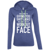 Really It's Just My Workout Face Hoodies Apparel CustomCat 887L Anvil Ladies' LS T-Shirt Hoodie Heather Blue/Neon Yellow Small