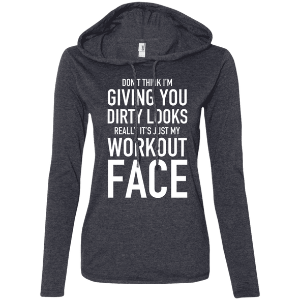Really It's Just My Workout Face Hoodies Apparel CustomCat 887L Anvil Ladies' LS T-Shirt Hoodie Heather Dark Grey/Dark Grey Small