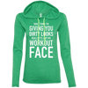 Really It's Just My Workout Face Hoodies Apparel CustomCat 887L Anvil Ladies' LS T-Shirt Hoodie Heather Green/Neon Yellow Small
