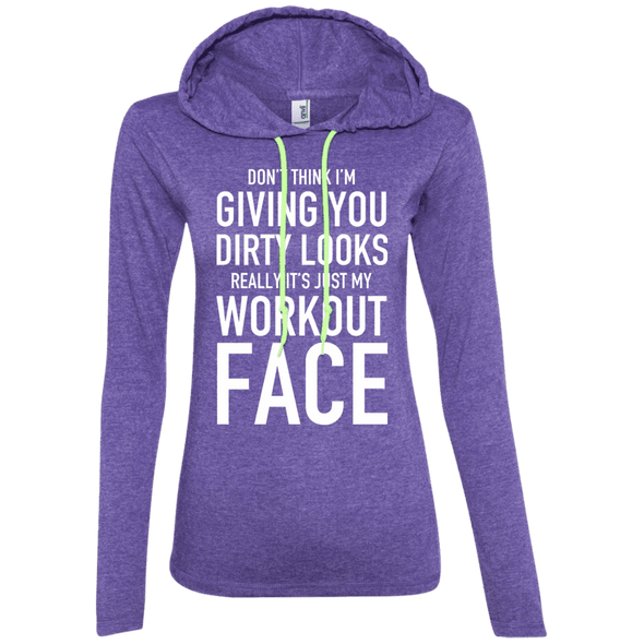 Really It's Just My Workout Face Hoodies Apparel CustomCat 887L Anvil Ladies' LS T-Shirt Hoodie Heather Purple/Neon Yellow Small