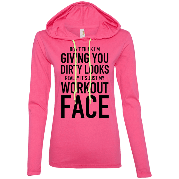 Really It's Just My Workout Face Hoodies Apparel CustomCat 887L Anvil Ladies' LS T-Shirt Hoodie Hot Pink/Neon Yellow Small