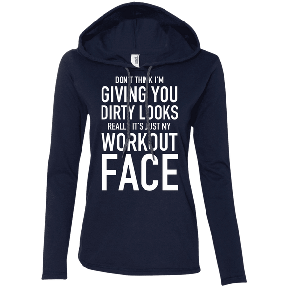 Really It's Just My Workout Face Hoodies Apparel CustomCat 887L Anvil Ladies' LS T-Shirt Hoodie Navy/Dark Grey Small