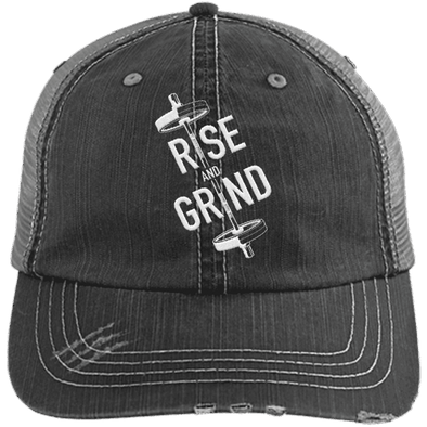 Rise & Grind Distressed Trucker Cap Apparel CustomCat 6990 Distressed Unstructured Trucker Cap Black/Grey One Size