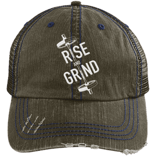 Rise & Grind Distressed Trucker Cap Apparel CustomCat 6990 Distressed Unstructured Trucker Cap Brown/Navy One Size