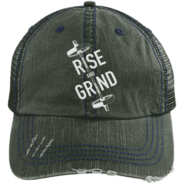 Rise & Grind Distressed Trucker Cap Apparel CustomCat 6990 Distressed Unstructured Trucker Cap Dark Green/Navy One Size