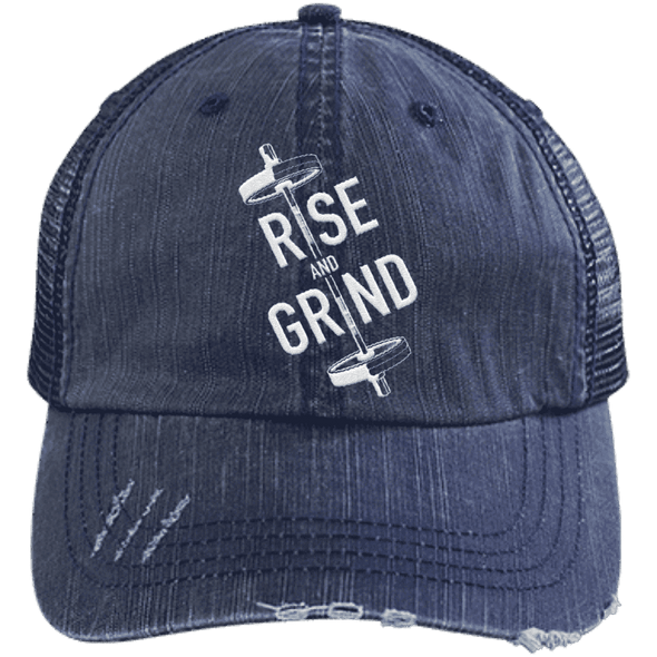 Rise & Grind Distressed Trucker Cap Apparel CustomCat 6990 Distressed Unstructured Trucker Cap Navy/Navy One Size