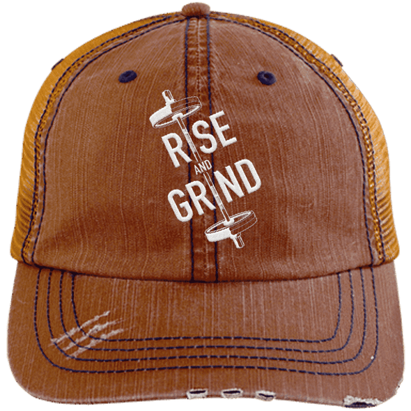 Rise & Grind Distressed Trucker Cap Apparel CustomCat 6990 Distressed Unstructured Trucker Cap Orange/Navy One Size