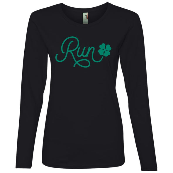 Run Lucky Charm Long Sleeve T-Shirt T-Shirts CustomCat Black S