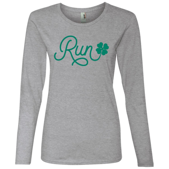 Run Lucky Charm Long Sleeve T-Shirt T-Shirts CustomCat Heather Grey S