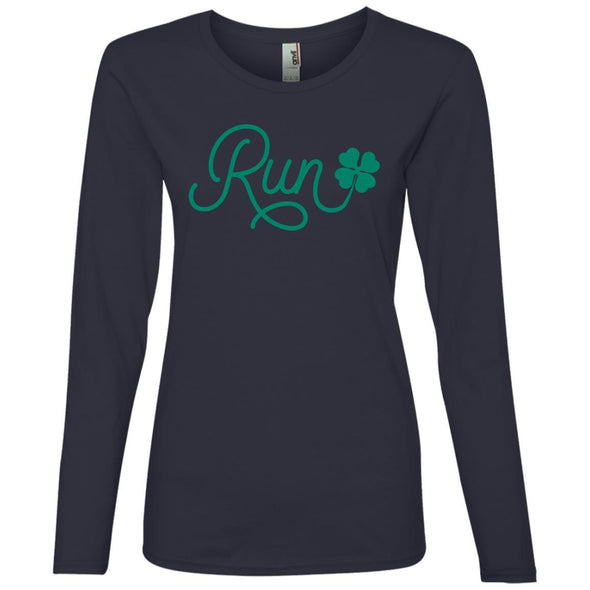 Run Lucky Charm Long Sleeve T-Shirt T-Shirts CustomCat Navy S